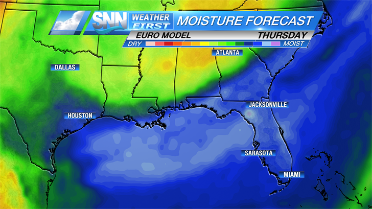 Deep moisture in the atmosphere will keep rain chances high in the mornings.